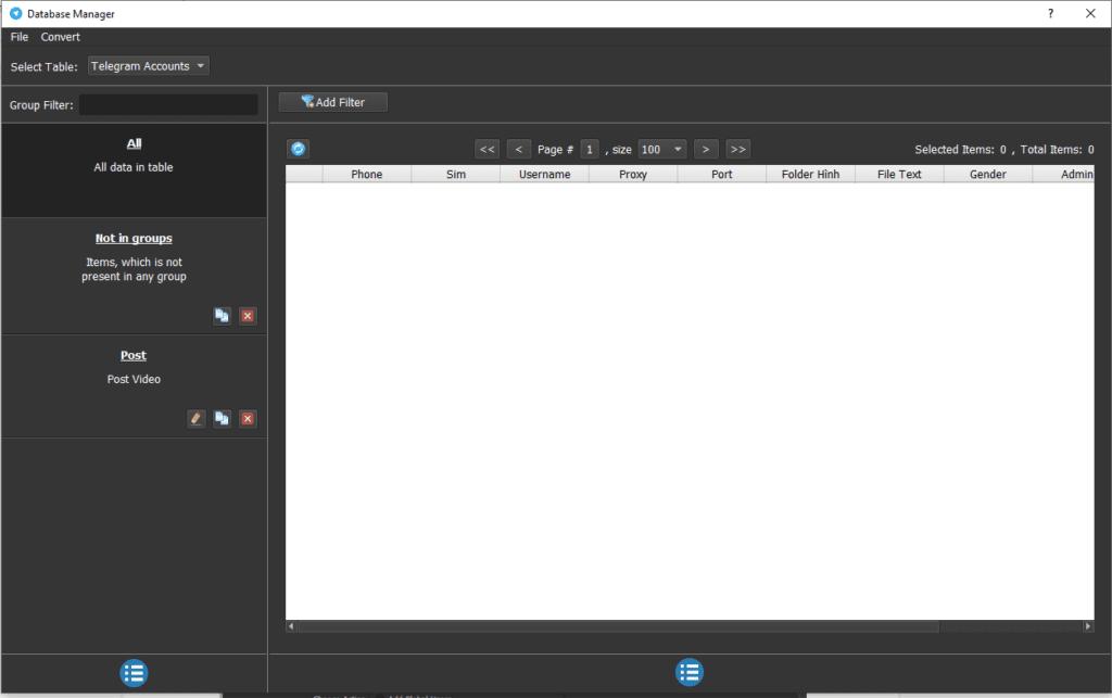 Bảng quản lý tài khoản của phần mềm Telegram