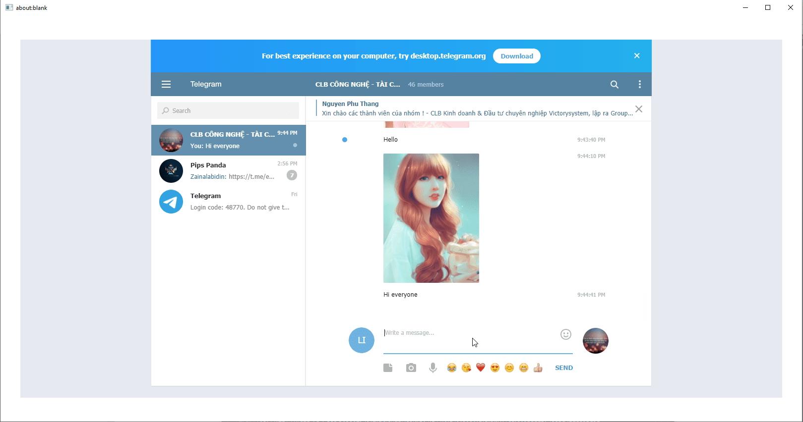 Kết quả chạy chức năng Post Group của phần mềm Telegram