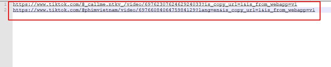 File dữ liệu đầu vào cho Phần mềm tiktok