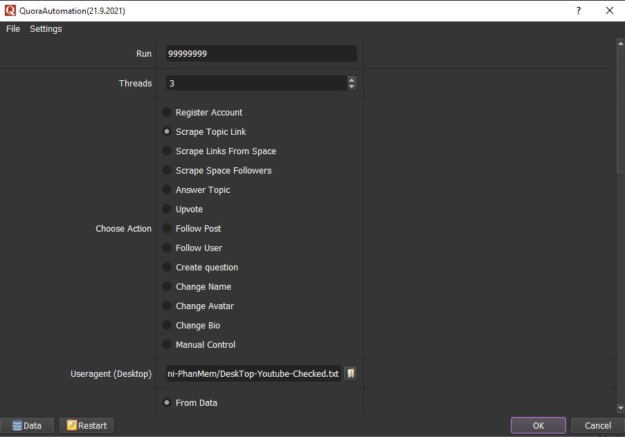 Giao diện chính phần mềm Quora Autimation - tăng Vote Quora